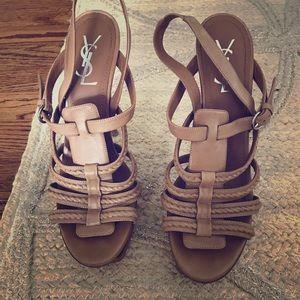 YSL Yves Hamptons Gladiator Braided Sandals